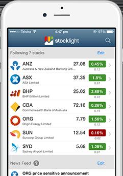 StockLight iPhone watchlist screen
