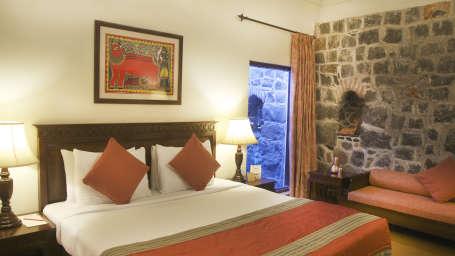 Premium Hill View Room of  Fort Jadhavgadh Heritage Resort Hotel Pune
