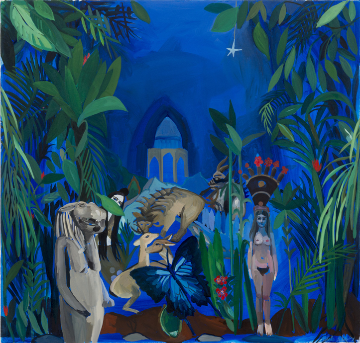 """Adela Leibowitz, Isis and Taweret with tomb of Hafiz, 2012, 40"""" x 42"""" , oil on canvas."""