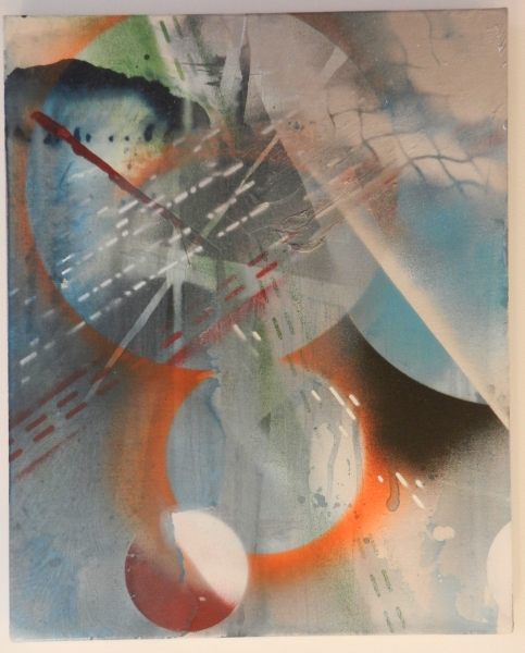 "Maggie Michael ""Red vs. White via Loose Memories of the Bolshevik Revolution,"" 2011 Ink, spray paint and enamel on linen 18 x 14 inches"